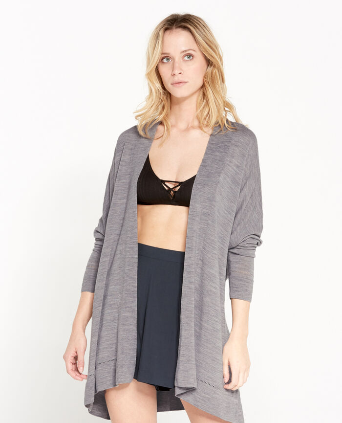 EXTRA Gris chiné Cardigan manches longues