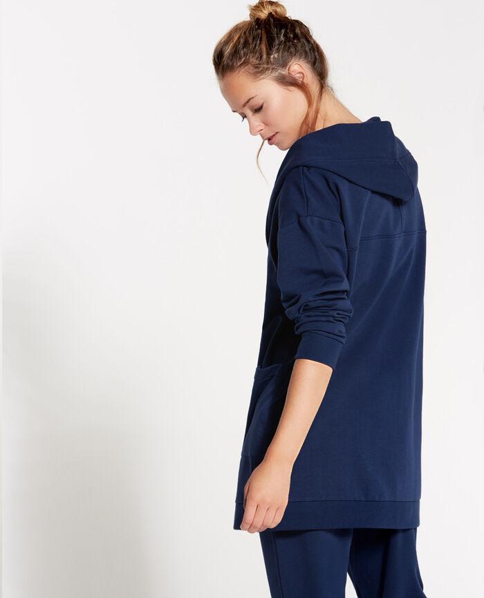 SWEAT COLLECTION Bleu abysse Veste mi-longue