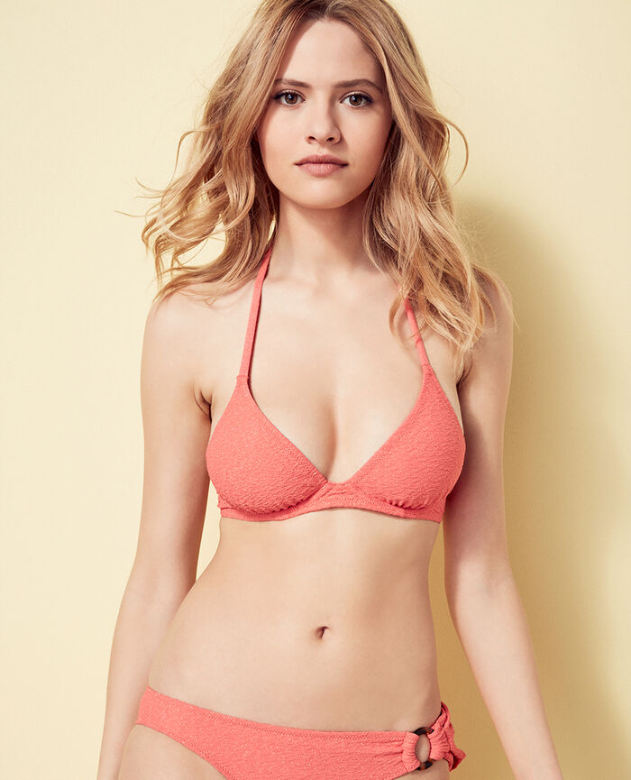 Mini-wire triangle bikini top Funky pink Makeda