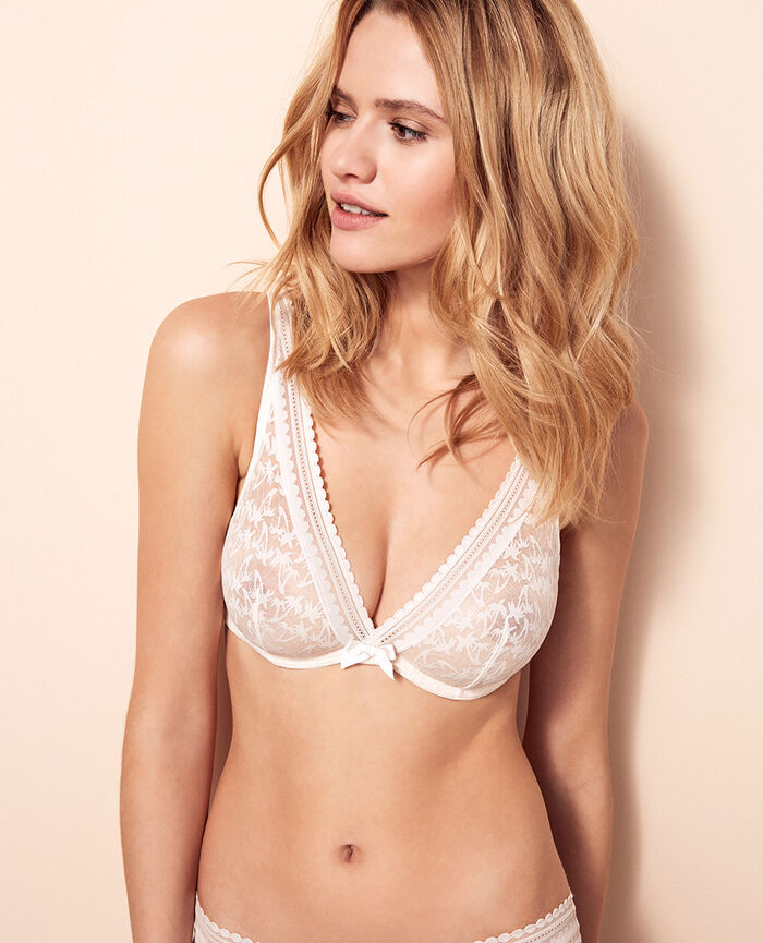 Underwired triangle bra Rose white Bella