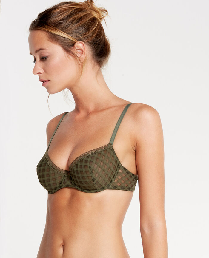 ANNIKA Army green Half-cup bra