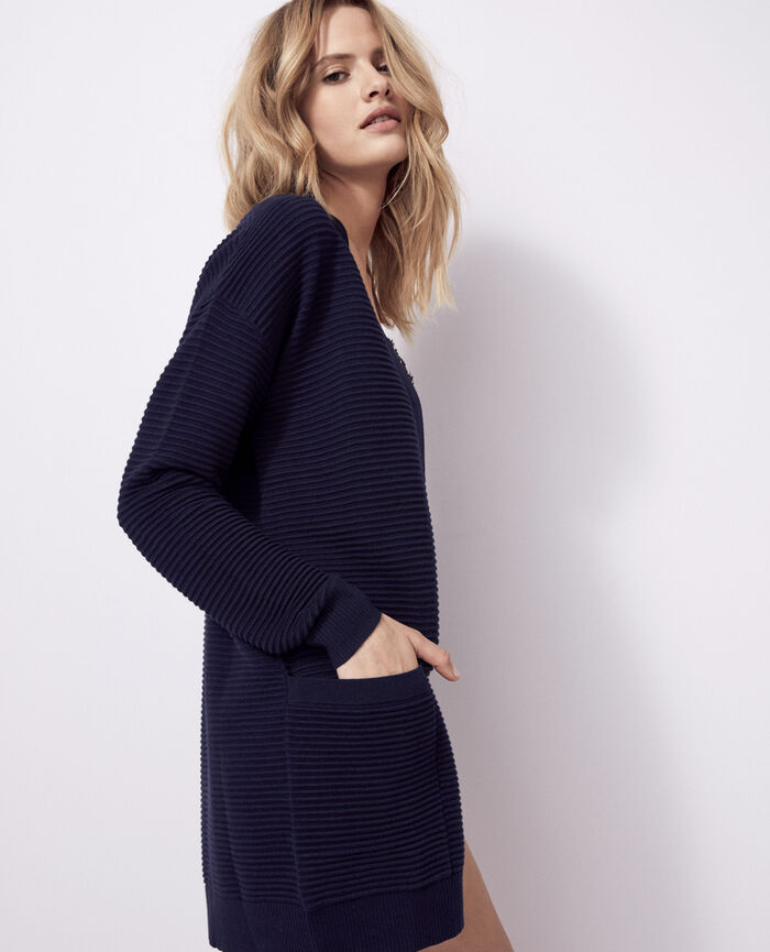 Long-sleeved cardigan Navy Kanou