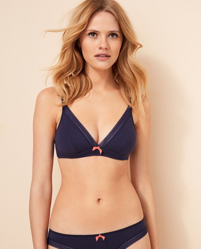 Soft cup bra Denim blue Coton
