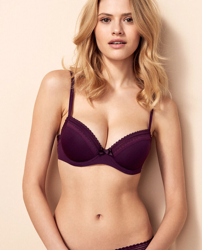 Progressive-cup push-up bra Ethnic purple Beaute