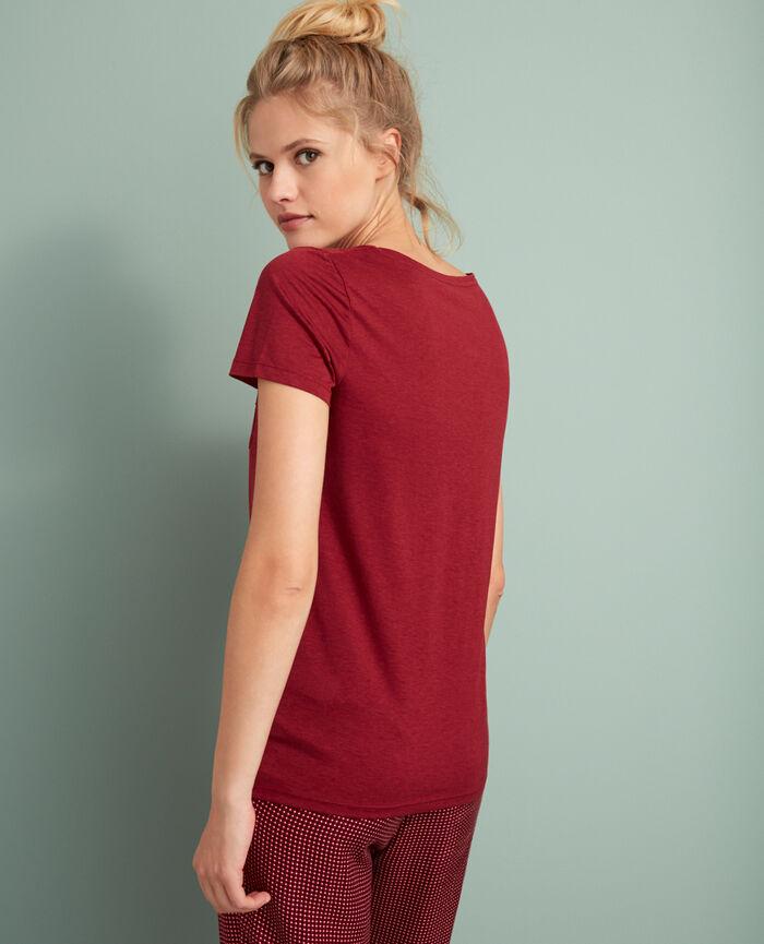 Kurzärmeliges T-Shirt mit V-Ausschnitt Leder Rot LATTE