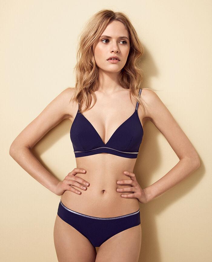 Mini-wire triangle bikini top Denim blue Ohlala