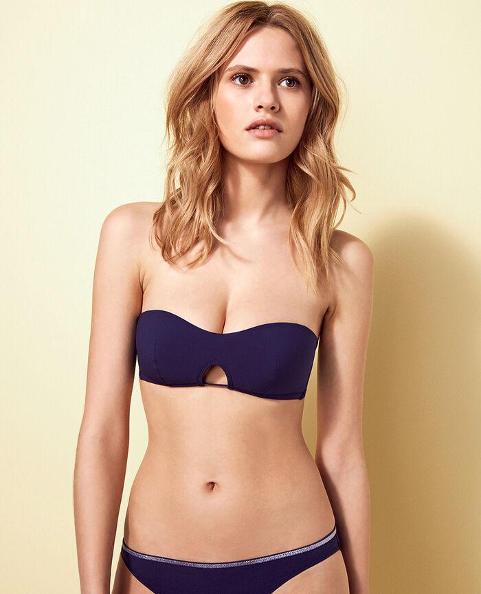 Gepolstertes Bandeau-Bikini-Oberteil Jeansblau OHLALA
