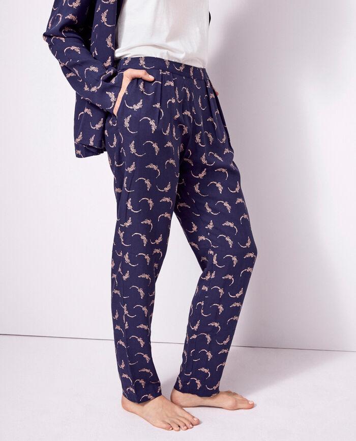 Pantalon carotte Bleu marine Croco
