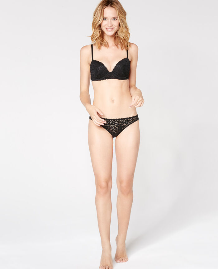 Progressive-cup push-up bra Black Monica