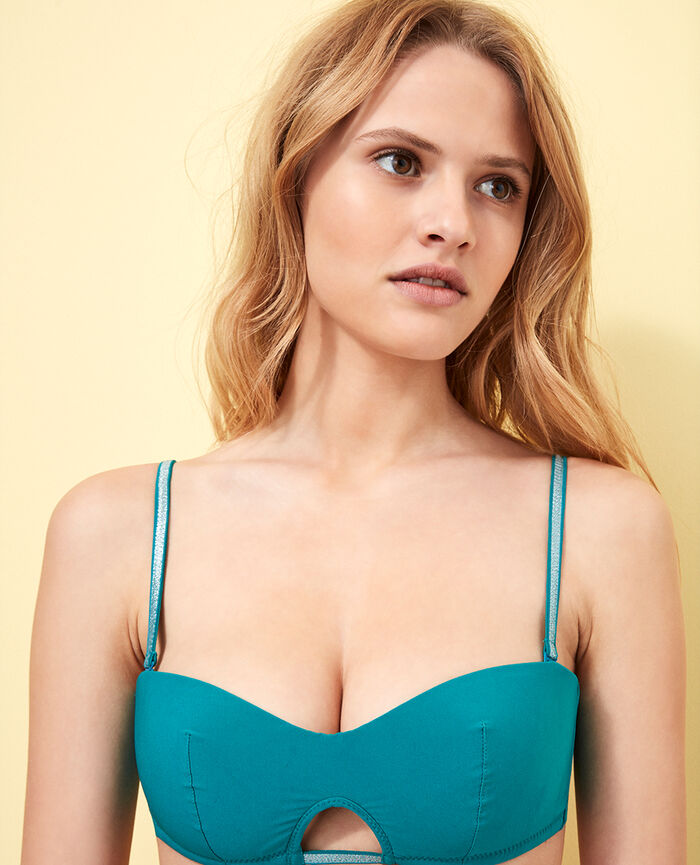 Padded strapless bikini top Pigment green Ohlala