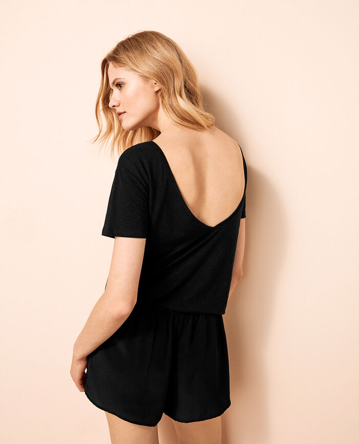 Short open back t-shirt Black Ideal