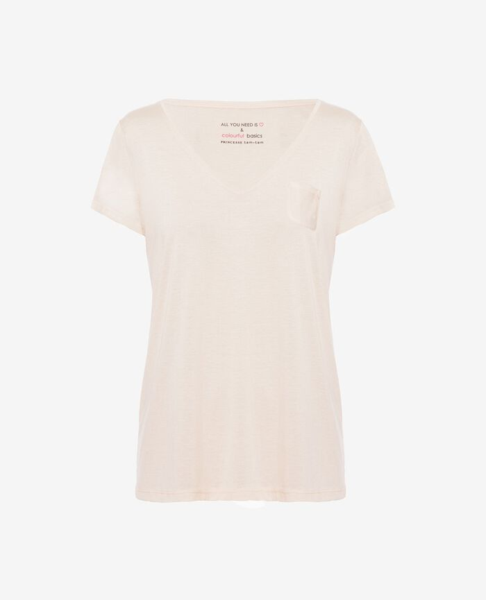 Short-sleeved top with v-neck Ice cream rose Latte