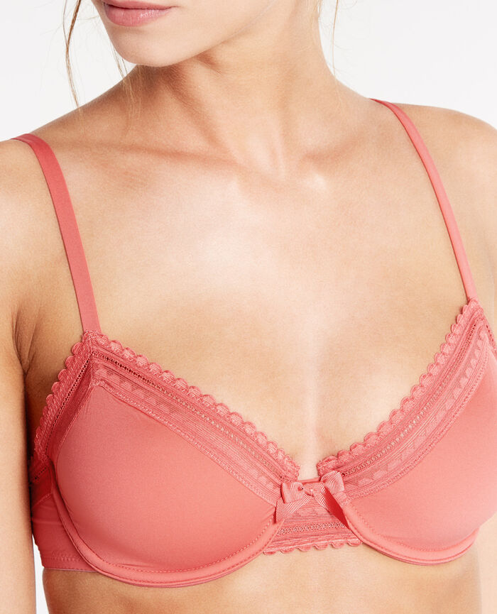 BEAUTE Fiery pink Underwired bra