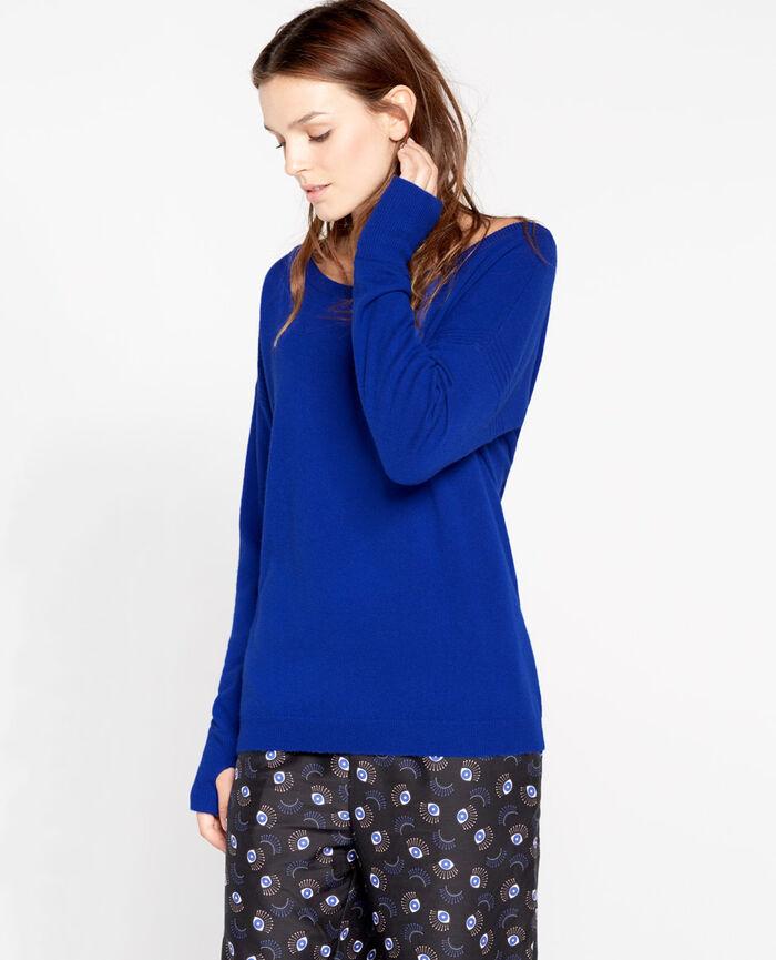 COZY Blue splash Boatneck jumper