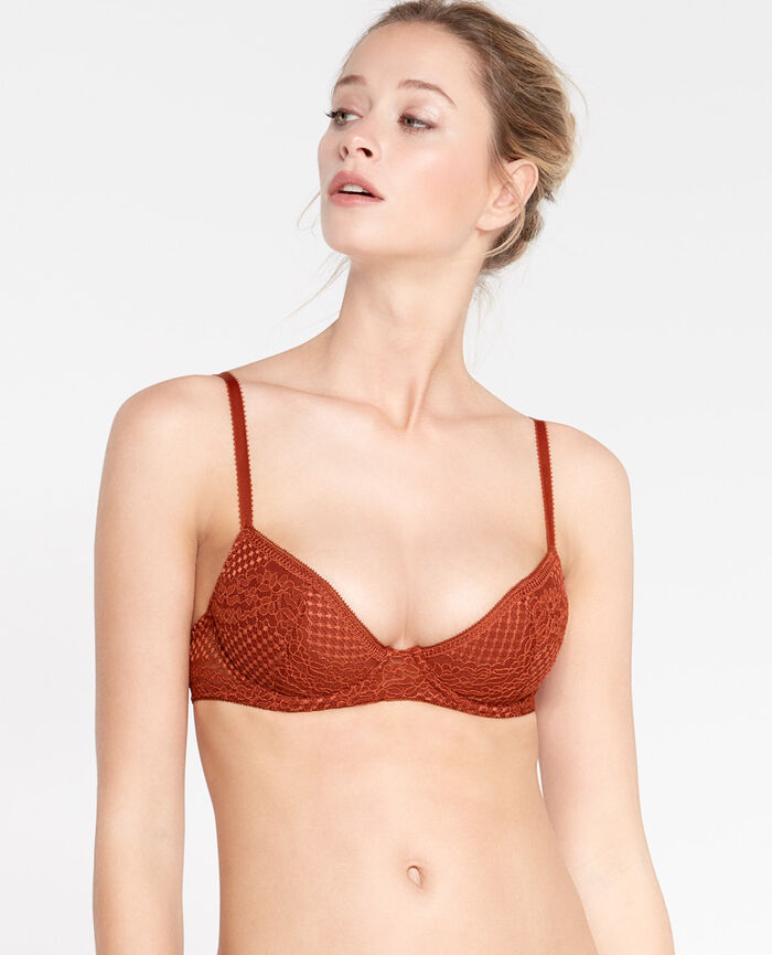 VERTIGE Rouge brique Soutien-gorge push-up mousses