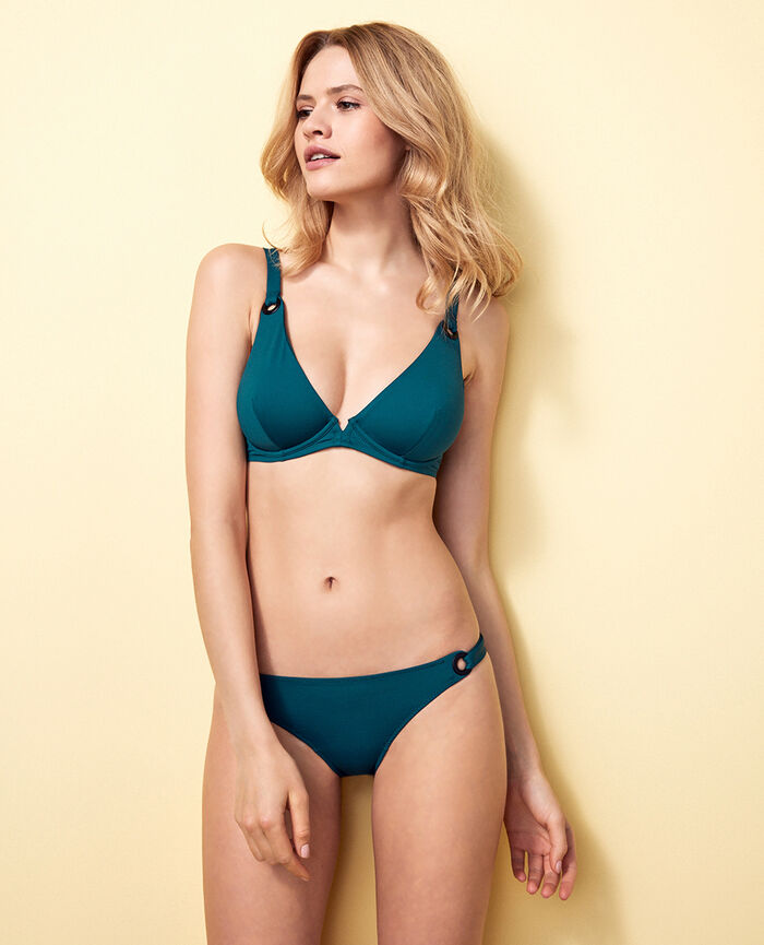 Underwired triangle bikini top Midnight green Impala