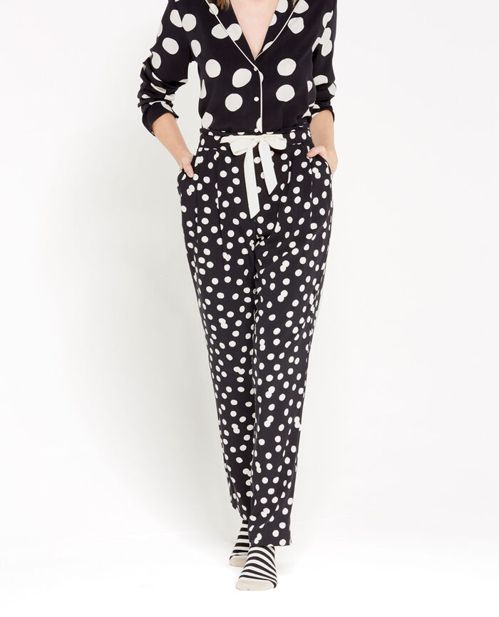 LOVE IS ALL Noir pois Pantalon