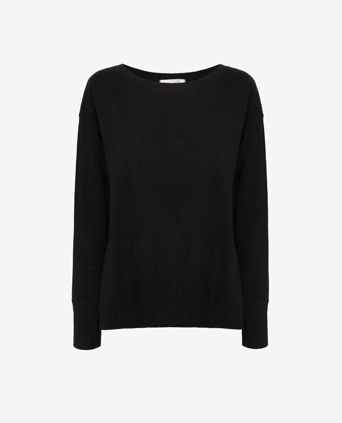 Pullover mit U-Boot-Ausschnitt Schwarz COZY