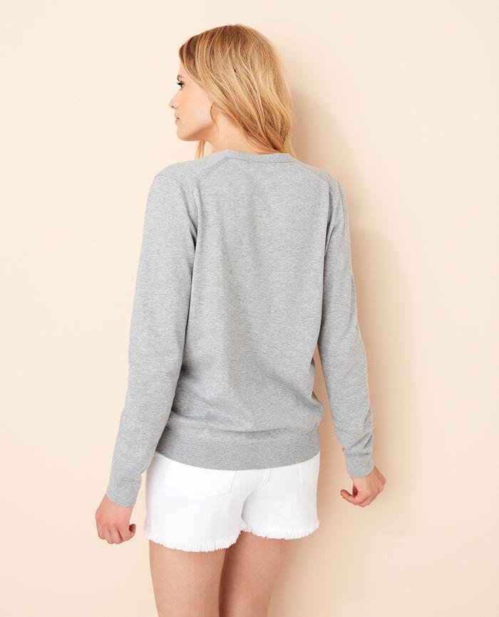 Long-sleeved cardigan Flecked grey Soleil