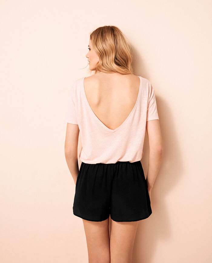 Short open back t-shirt Nude beige Ideal