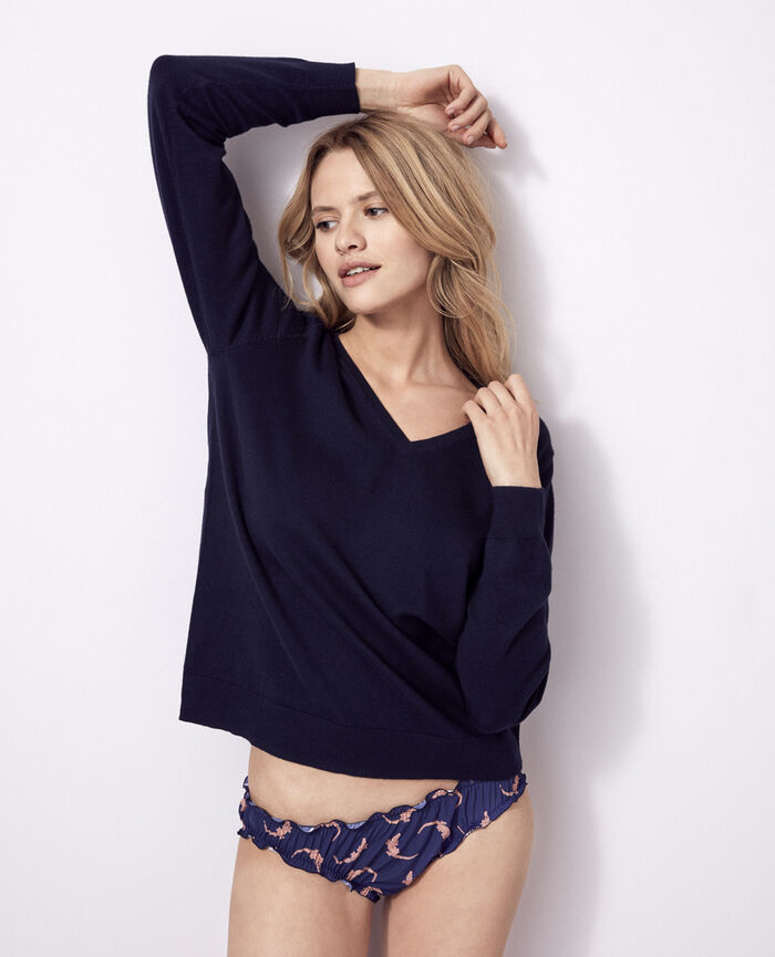 Pullover mit V-Ausschnitt Marineblau KANOU