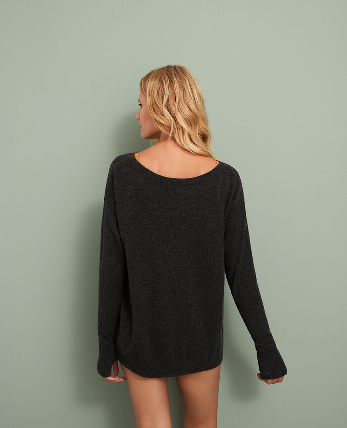 Boatneck jumper Anthracite grey Cozy