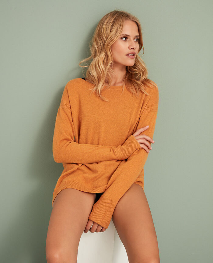 Boatneck jumper Taxi yellow Cozy