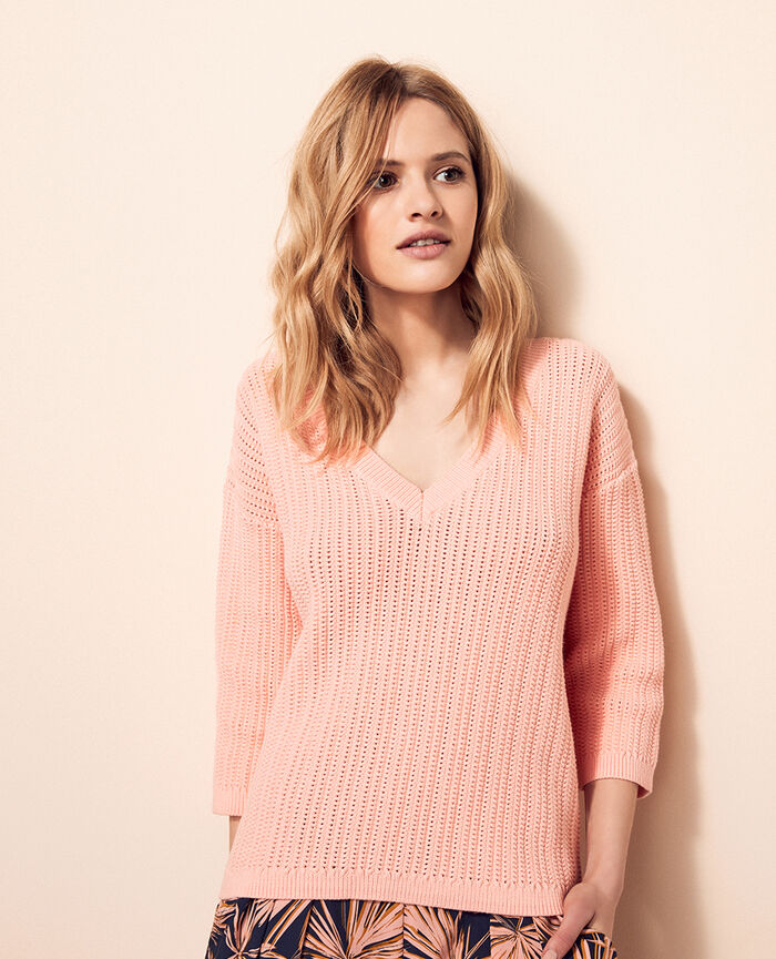 V-neck jumper Radiant pink Meloe