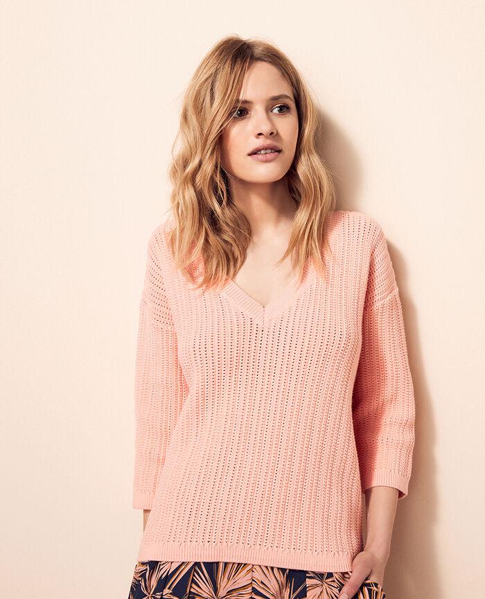 Pullover mit V-Ausschnitt Radiant Rosa MELOE