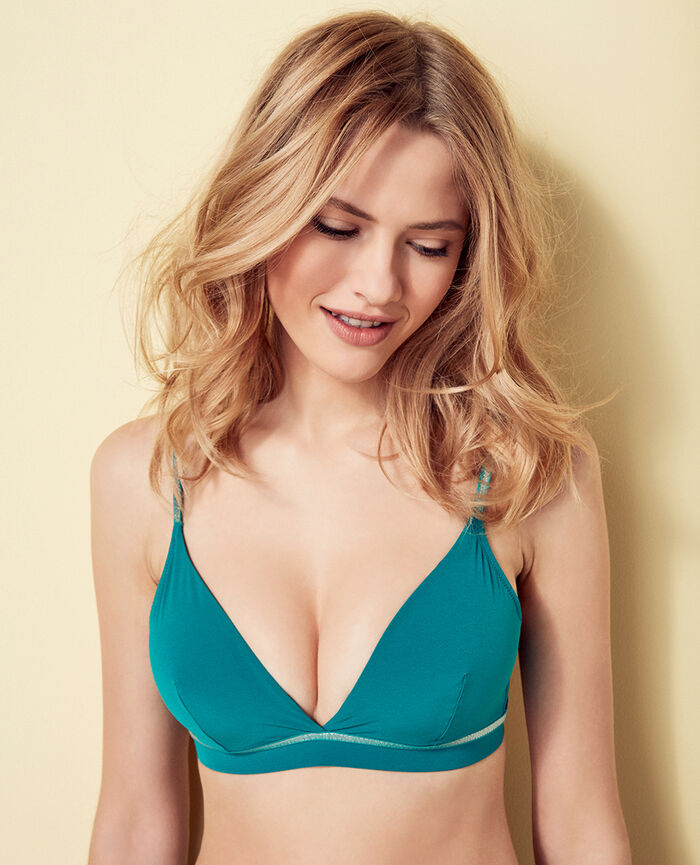 Mini-wire triangle bikini top Pigment green Ohlala