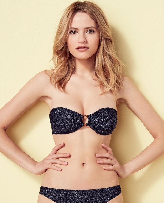 Gepolstertes Bandeau-Bikini-Oberteil ohne Bügel Jeansblau MAKEDA