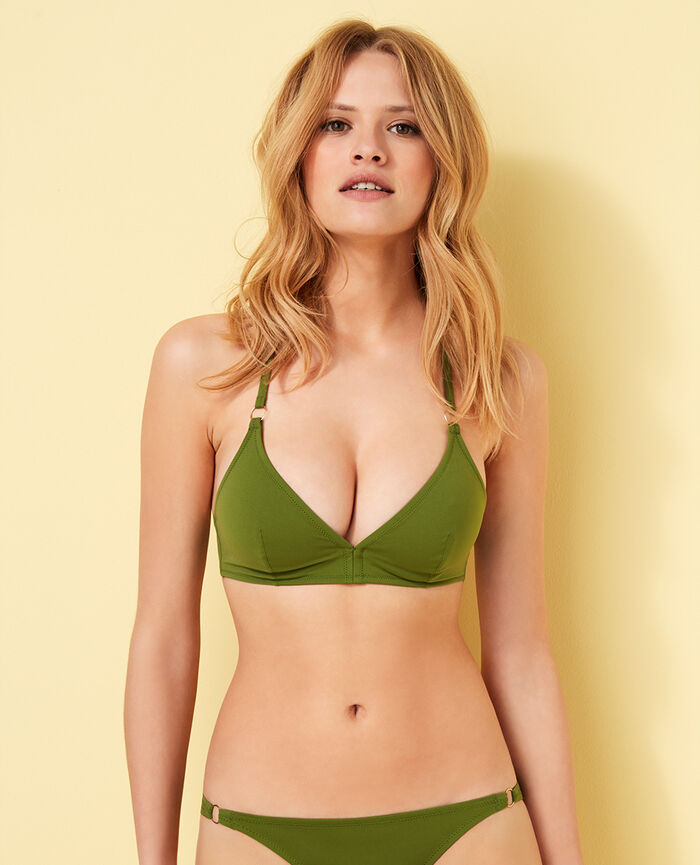 Mini-wire triangle bikini top Philo green Numa