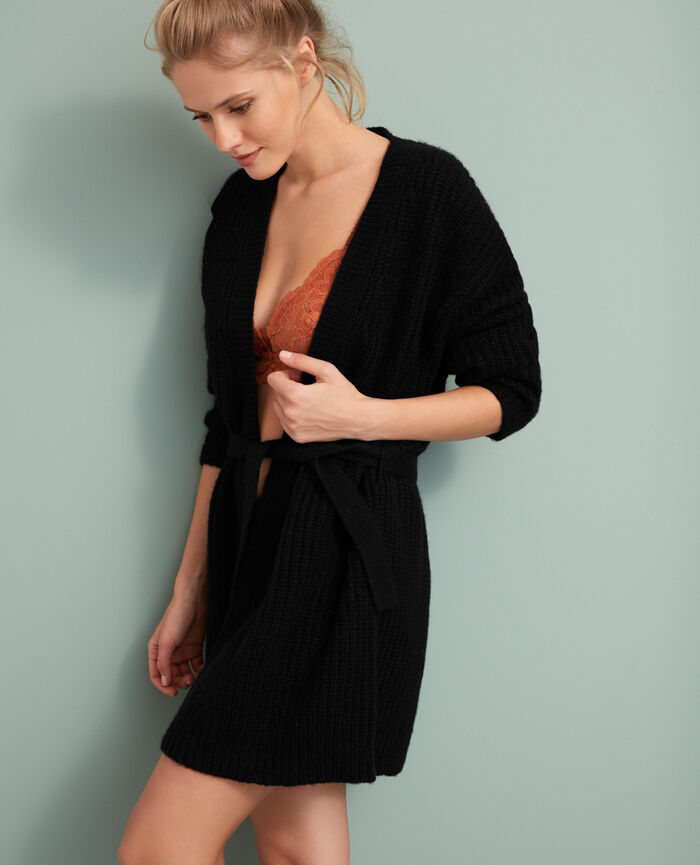 Long-sleeved cardigan Black Moka