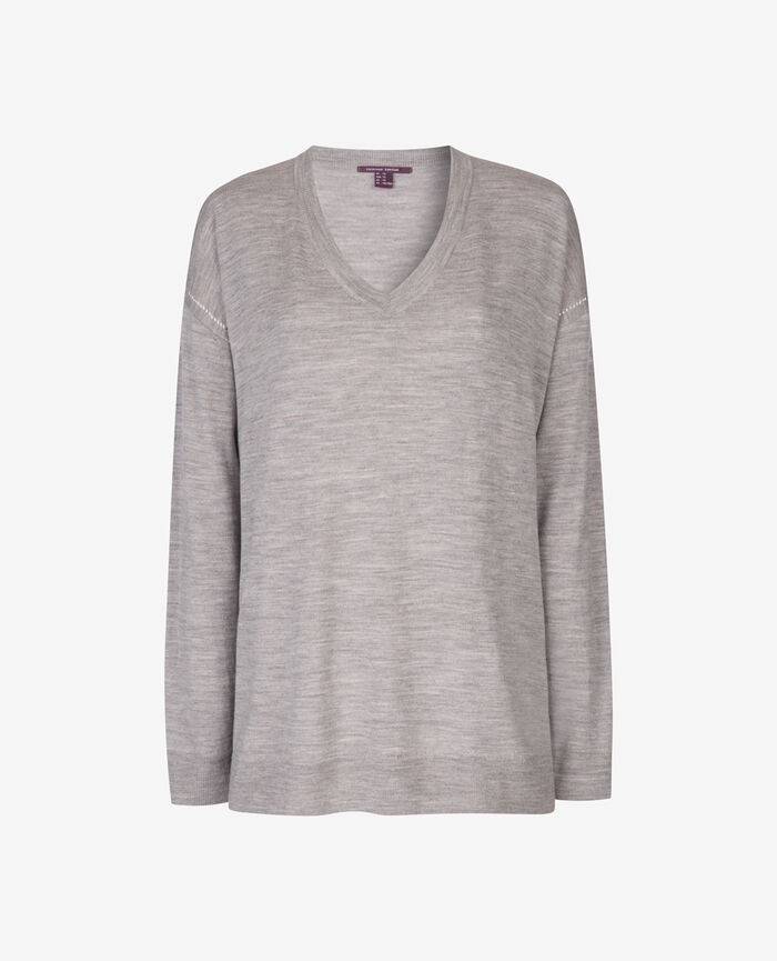 V-neck jumper Flecked grey Extra