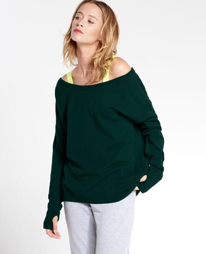 COZY Midnight green Boatneck jumper