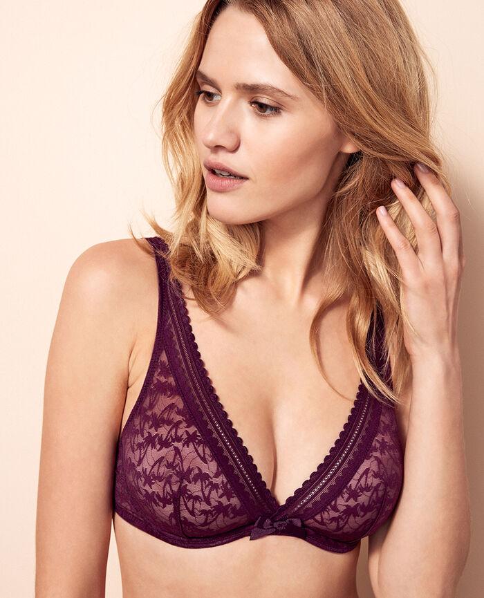 Underwired triangle bra Ethnic purple Bella