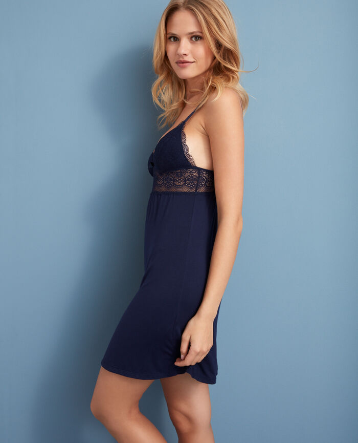 Short nightie Navy Flora