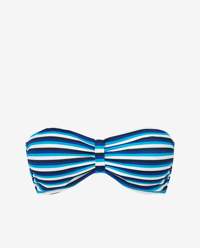 Padded strapless bikini top Blue stripes Princesse tam.tam x uniqlo