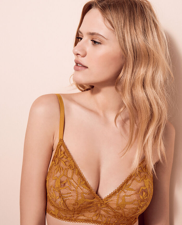 Soft cup bra Turmeric brown Monkeys
