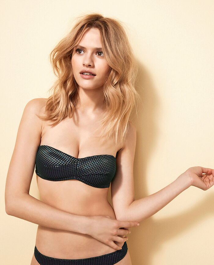 Bandeau-Bikini-Oberteil ohne Bügel Schwarz PEPITA