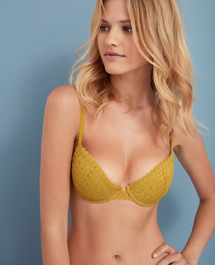 Soutien-gorge corbeille mousses Jaune pickles Monica