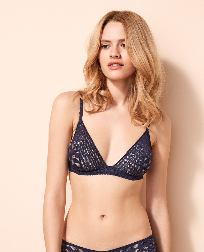 Mini-wire triangle bra Denim blue Saga
