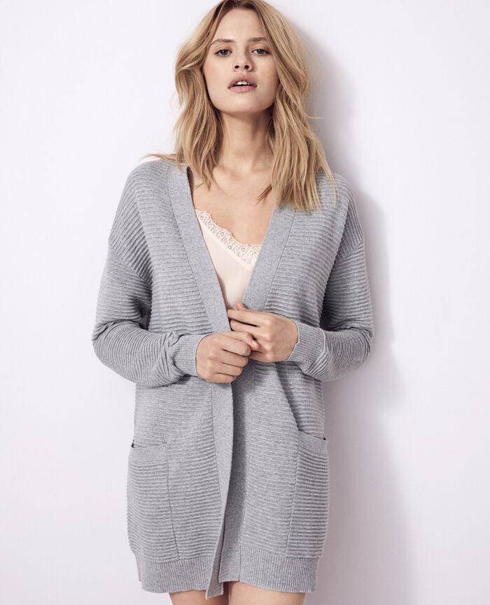 Long-sleeved cardigan Flecked grey Kanou