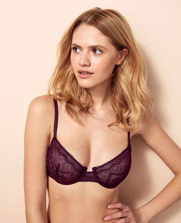 Half-cup bra Ethnic purple Passion