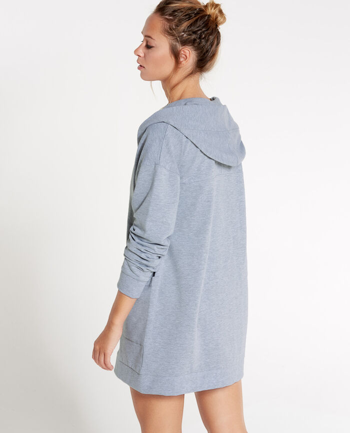 SWEAT COLLECTION Gris chiné Veste mi-longue