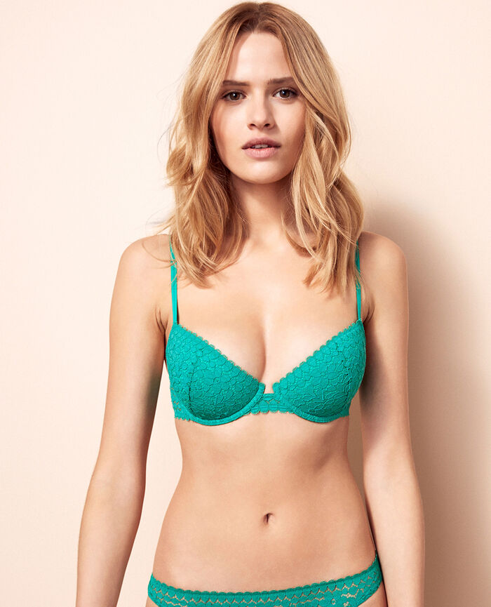 Half-cup padded bra Palmito green Monica