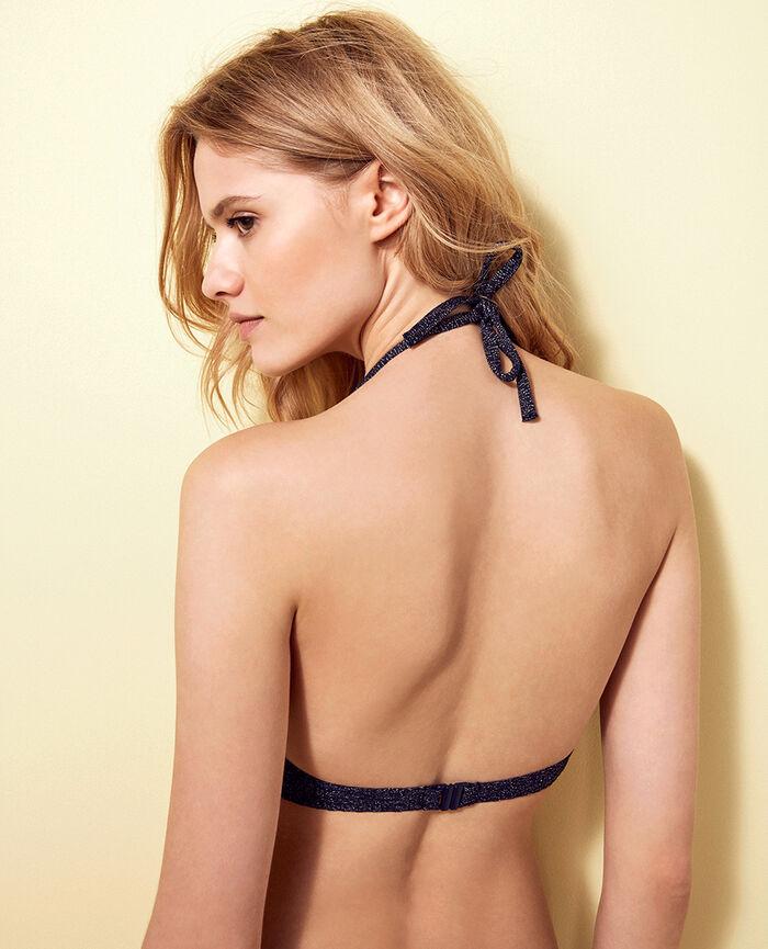 Mini-wire triangle bikini top Denim blue Makeda