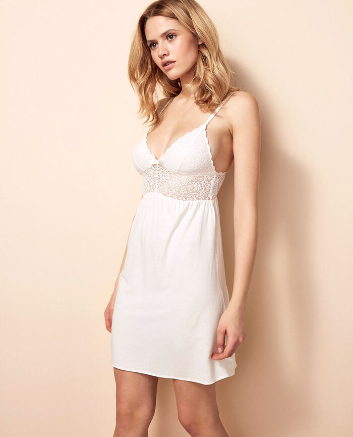 Short nightie Rose white Flora