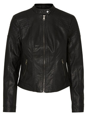 SHORT IMITATED LEATHER JACKET