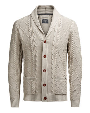CABLE KNIT SHAWL NECK CARDIGAN